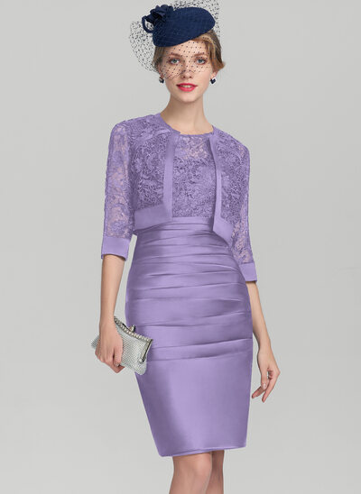 Sheath/Column Scoop Neck Knee-Length Satin Lace Mother of the Bride Dress With Ruffle