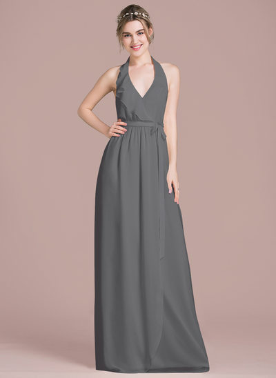 A-Line Halter Floor-Length Chiffon Bridesmaid Dress With Bow(s) Cascading Ruffles