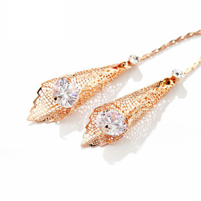 Ladies' Unique Gold Plated Cubic Zirconia Earrings For Bride/For Bridesmaid/For Friends