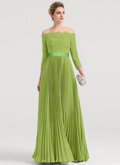 A-Line Off-the-Shoulder Floor-Length Chiffon Evening Dress With Pleated