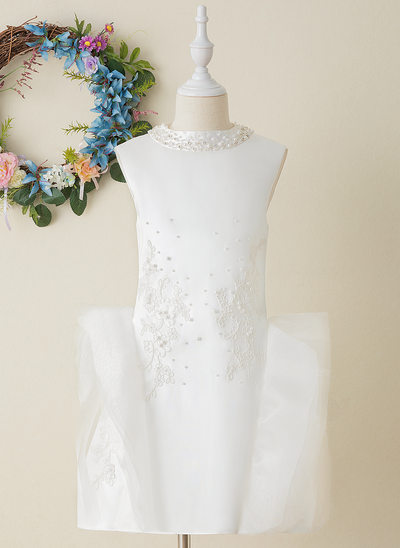 A-Line Knee-length Flower Girl Dress - Tulle/Lace Sleeveless Scoop Neck With Beading/Appliques