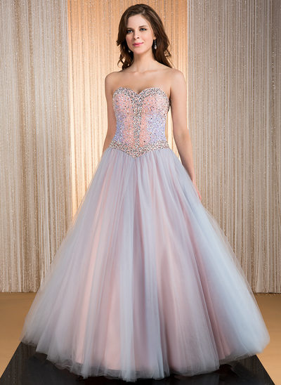 Ball-Gown Sweetheart Floor-Length Taffeta Tulle Prom Dresses With Beading Sequins