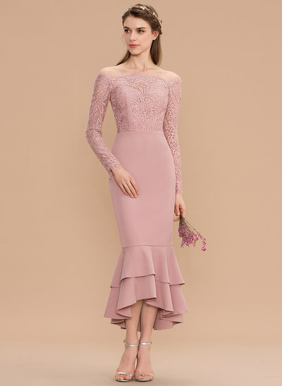 Trumpet/Mermaid Off-the-Shoulder Asymmetrical Lace Stretch Crepe Bridesmaid Dress