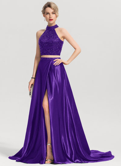 A-Line/Princess Scoop Neck Sweep Train Charmeuse Prom Dresses With Beading Split Front