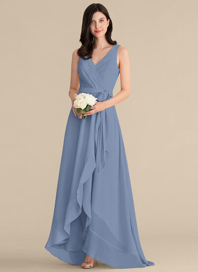 A-Line V-neck Asymmetrical Chiffon Bridesmaid Dress With Ruffle Bow(s)