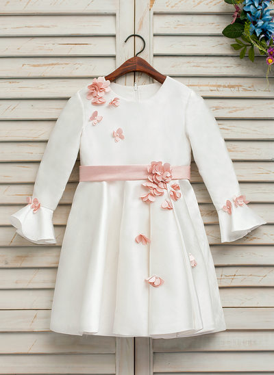 A-Line/Princess Knee-length Flower Girl Dress - Satin Long Sleeves Scoop Neck With Flower(s) (Undetachable sash)