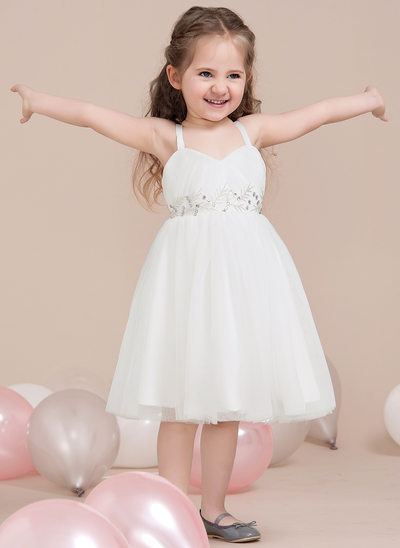 A-Line/Princess Tea-length Flower Girl Dress - Tulle Sleeveless Sweetheart With Beading/Sequins/Pleated