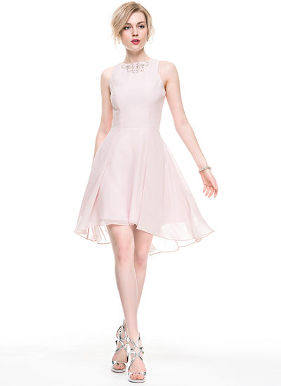 A-Line Scoop Neck Asymmetrical Chiffon Cocktail Dress With Beading Sequins
