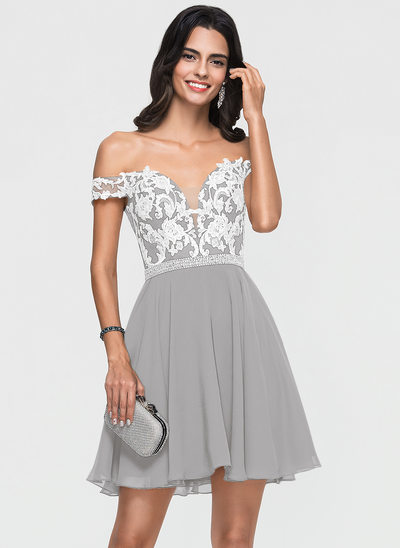 A-Line Off-the-Shoulder Short/Mini Chiffon Homecoming Dress