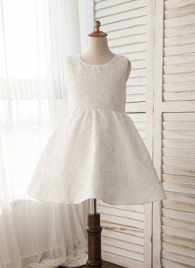 A-Line/Princess Knee-length Flower Girl Dress - Lace Sleeveless Scoop Neck With Lace