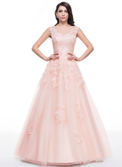 Ball-Gown Scoop Neck Floor-Length Tulle Prom Dresses With Beading Appliques Lace Sequins