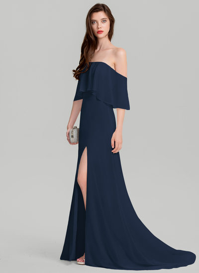 A-Line/Princess Off-the-Shoulder Sweep Train Chiffon Evening Dress With Split Front