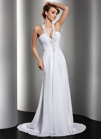 A Line Princess Halter Sweep Train Chiffon Wedding Dress With Ruffle Beading Appliques Lace