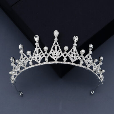 Ladies Glamourous Rhinestone/Alloy/Imitation Pearls Tiaras With Rhinestone (Sold in single piece)