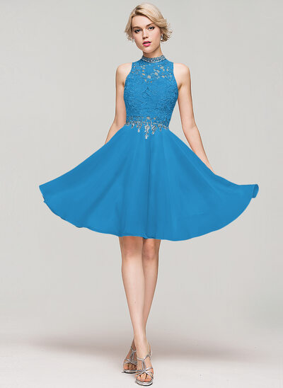A-Line High Neck Knee-Length Chiffon Homecoming Dress With Beading Sequins