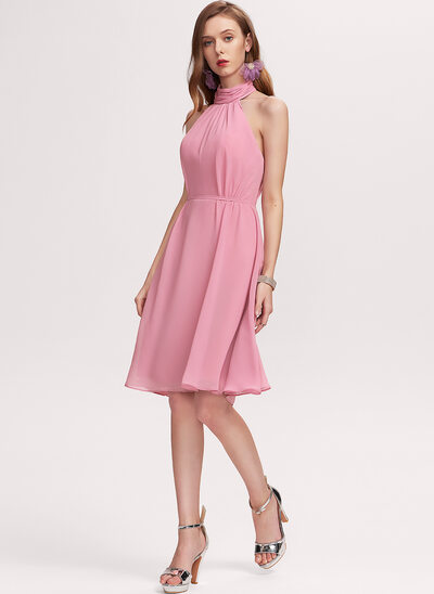 A-Line High Neck Knee-Length Chiffon Homecoming Dress With Bow(s)