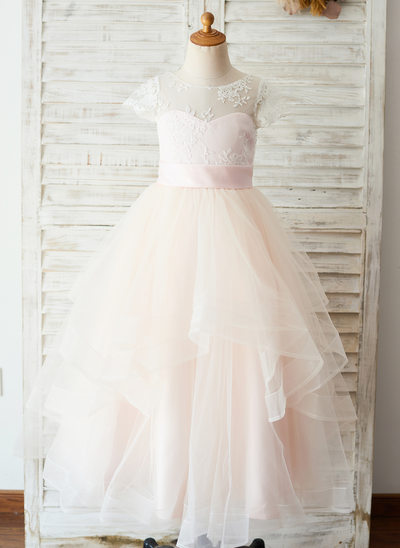 A-Line/Princess Floor-length Flower Girl Dress - Satin/Tulle/Lace Short Sleeves Scoop Neck With Appliques (Undetachable sash)