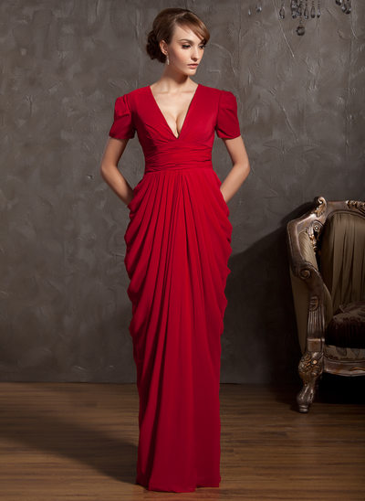 Sheath/Column V-neck Floor-Length Chiffon Mother of the Bride Dress With Ruffle