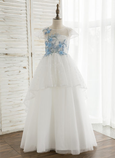 A-Line/Princess Floor-length Flower Girl Dress - Tulle/Lace Short Sleeves Scoop Neck With Appliques