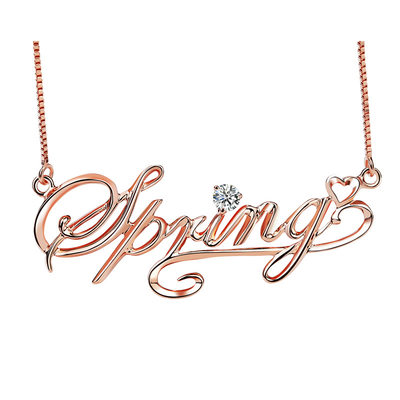 Personalized Ladies' Sparking With Round Cubic Zirconia Name Necklaces Necklaces For Bridesmaid/For Mother