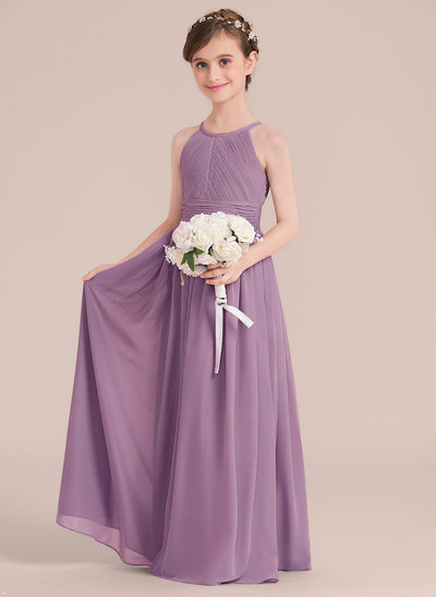 A-Line/Princess Floor-length Flower Girl Dress - Chiffon Sleeveless Scoop Neck