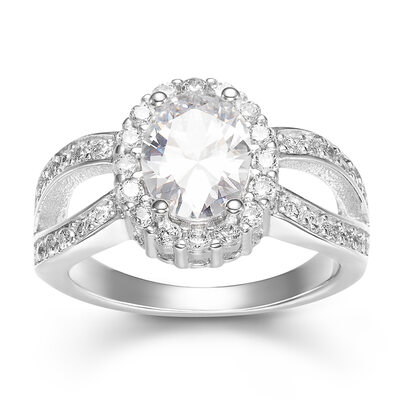 Sterling Silver Cubic Zirconia Halo Split Shank Oval Cut Engagement Rings -