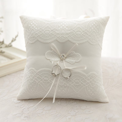 Bride Gifts - Elegant Lace Pearl Cloth Ring Pillow (Sold in a single piece)
