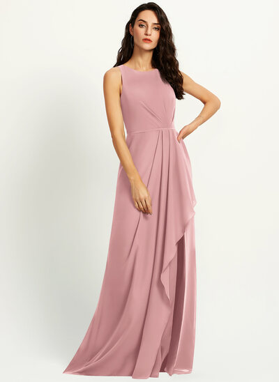 A-Line Scoop Neck Floor-Length Bridesmaid Dress With Split Front