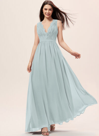 A-Line V-neck Floor-Length Chiffon Bridesmaid Dress With Ruffle Lace
