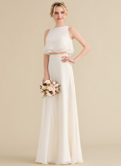 A-Line/Princess Scoop Neck Floor-Length Chiffon Bridesmaid Dress With Cascading Ruffles