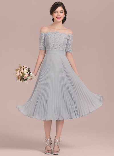 A-Line/Princess Off-the-Shoulder Tea-Length Chiffon Lace Cocktail Dress With Bow(s) Pleated