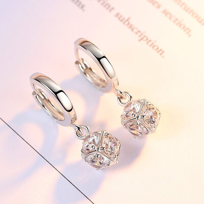 Ladies' Unique 925 Sterling Silver With Cubic Cubic Zirconia Earrings For Bridesmaid/For Friends
