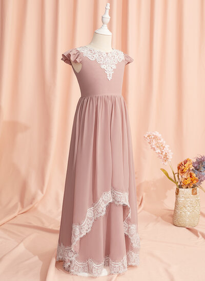A-Line Floor-length Flower Girl Dress - Chiffon/Lace Short Sleeves Scoop Neck With Lace/V Back