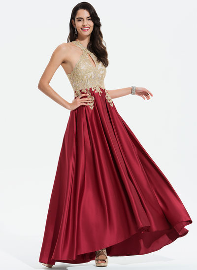 A-Line Scoop Neck Asymmetrical Satin Prom Dresses With Lace Beading