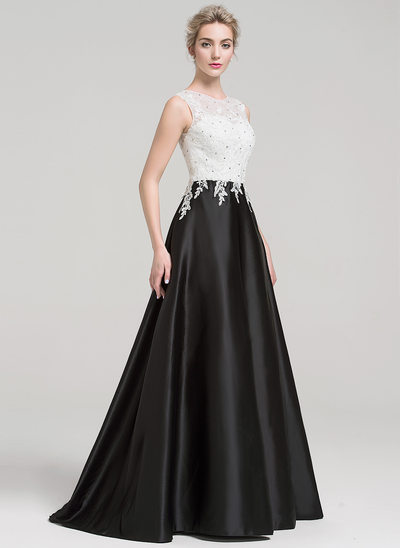 A-Line/Princess Scoop Neck Sweep Train Satin Prom Dresses With Beading