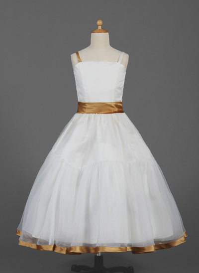 Ball Gown Ankle-length Flower Girl Dress - Organza/Satin Sleeveless Straps With Ruffles/Sash