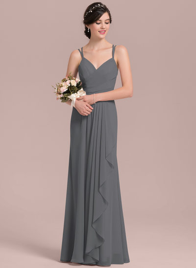 A-Line/Princess Sweetheart Floor-Length Chiffon Bridesmaid Dress With Cascading Ruffles
