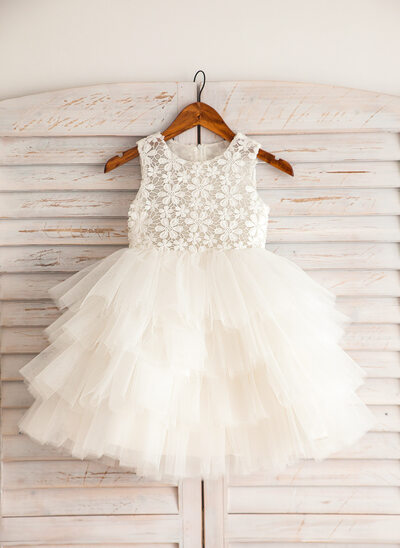 Empire Knee-length Flower Girl Dress - Satin/Lace/Cotton Sleeveless Scoop Neck