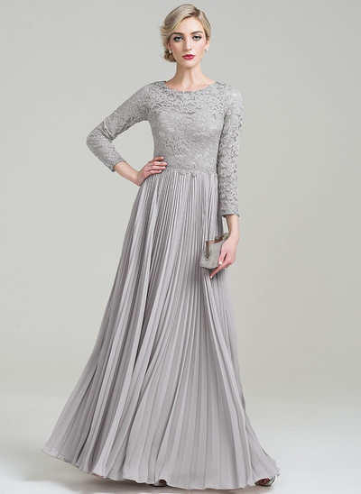 A-Line/Princess Scoop Neck Floor-Length Chiffon Lace Mother of the Bride Dress With Pleated