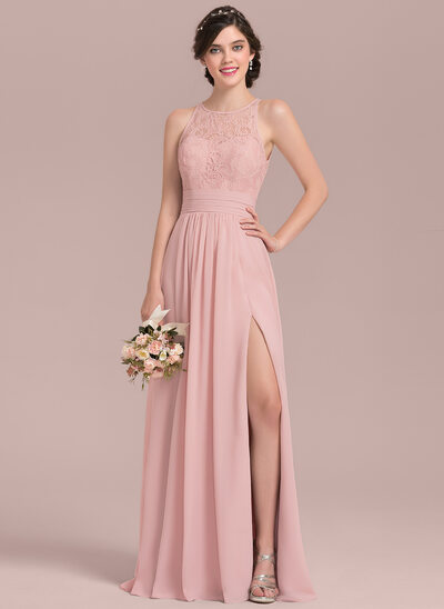 A-Line/Princess Scoop Neck Floor-Length Chiffon Lace Prom Dress With Ruffle Split Front