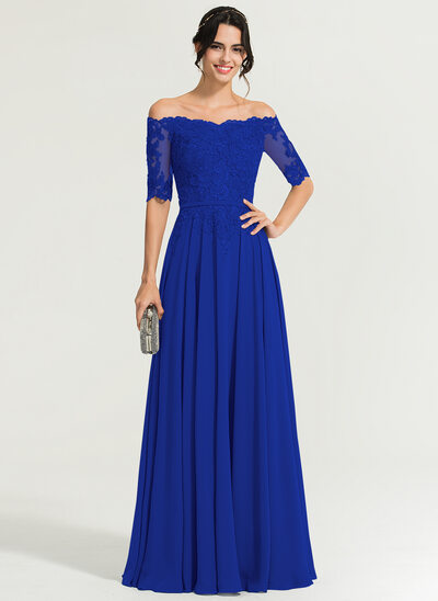 A-Line Off-the-Shoulder Floor-Length Chiffon Evening Dress With Beading