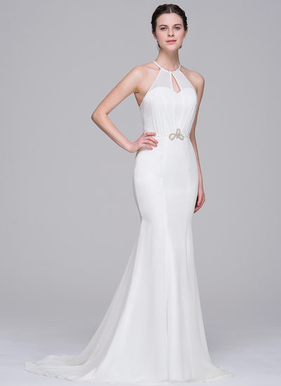 Trumpet/Mermaid Scoop Neck Sweep Train Chiffon Wedding Dress With Beading Sequins