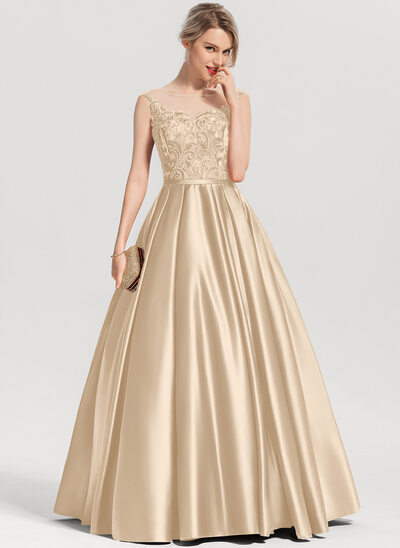 Ball-Gown/Princess Scoop Neck Floor-Length Satin Evening Dress With Sequins