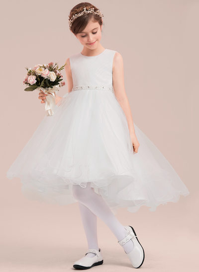 A-Line/Princess Asymmetrical Flower Girl Dress - Tulle Sleeveless Scoop Neck With Beading/Rhinestone