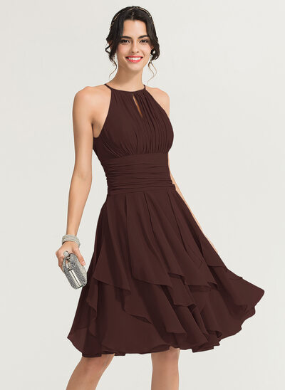 A-Line Scoop Neck Knee-Length Chiffon Cocktail Dress With Ruffle Cascading Ruffles
