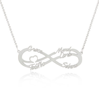 Christmas Gifts For Her - Custom Sterling Silver Infinity Family Five Name Necklace Infinity Name Necklace With Heart