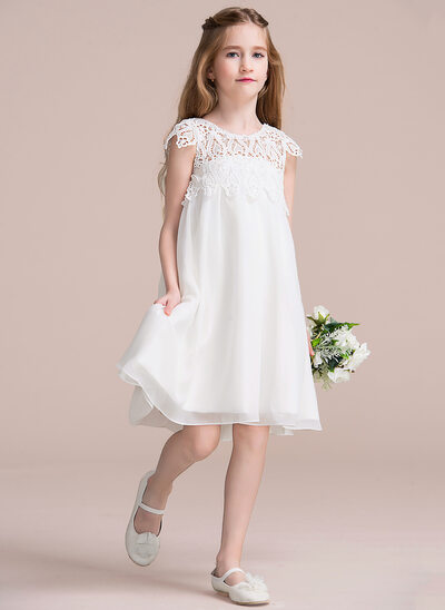 Empire Knee-length Flower Girl Dress - Chiffon/Lace Sleeveless Scoop Neck