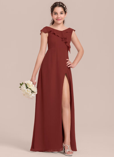 A-Line V-neck Floor-Length Chiffon Junior Bridesmaid Dress With Split Front Cascading Ruffles