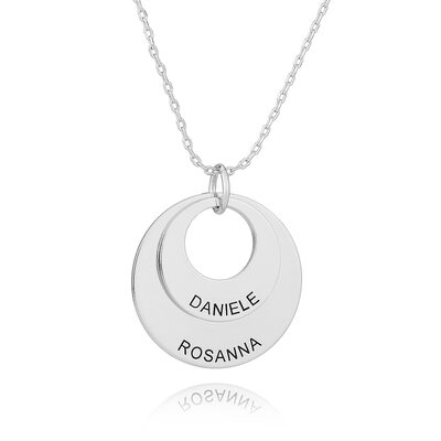 Custom Silver Engraving/Engraved Layered Circle Necklace - Valentines Gifts