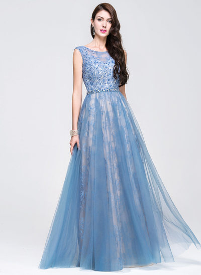 A-Line/Princess Scoop Neck Floor-Length Tulle Lace Prom Dresses With Beading Sequins